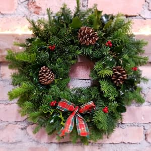 Large Holly, Cones and Berries Wreath